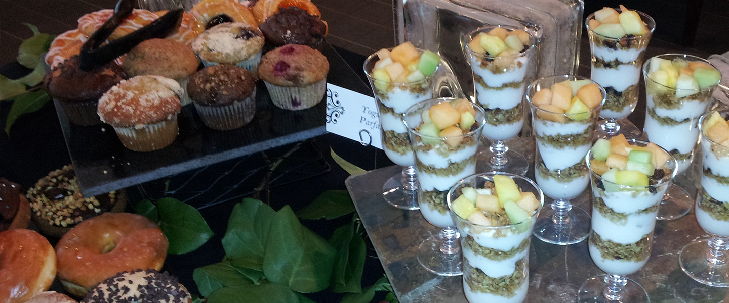 Breakfast buffet items at a BJC catered event