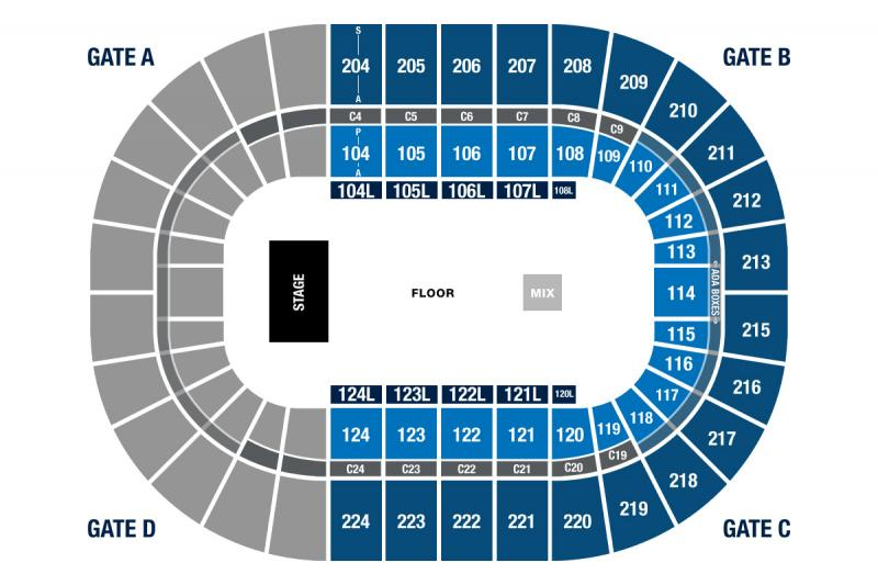 Seating Chart for The Killers October 6, 2020 at the Bryce Jordan Center