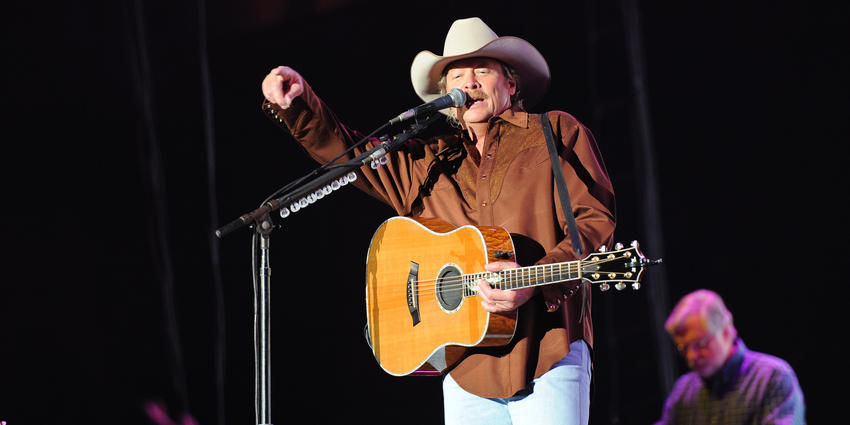 Country music star, Alan Jackson sings on stage during his Freight Train Tour at the Bryce Jordan Center in 2010.