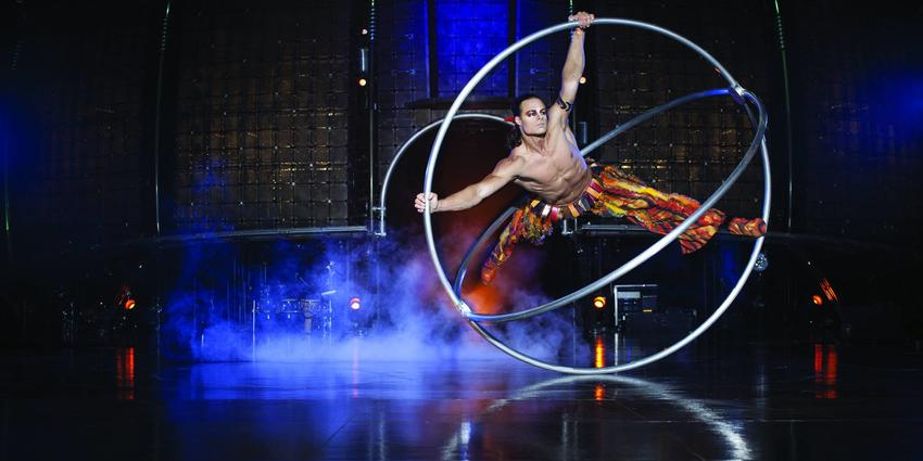 Acrobatic performance in rings during the Cirque du Soliel Dralion performance in 2014 at the BJC.