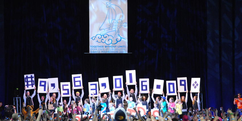 THON 2011 raised 9,563,016.09 for pediatric cancer.