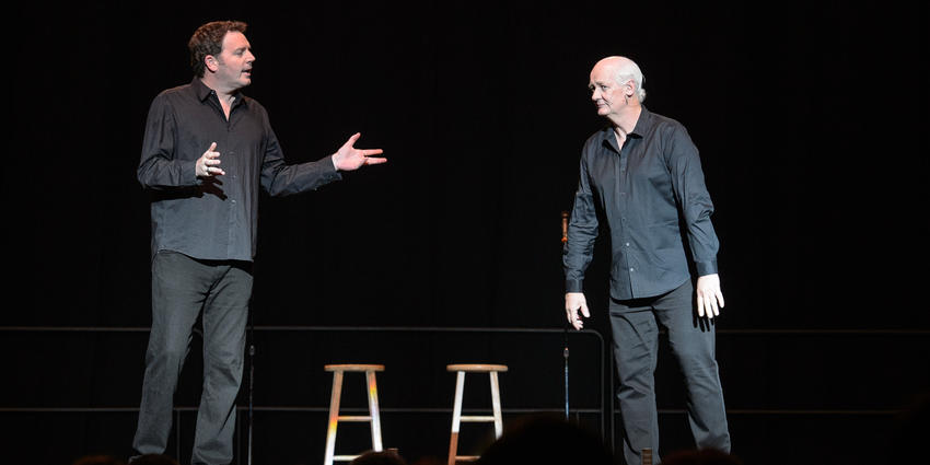 Colin Mochrie and Brad Sherwood, stars of the newly revived improv show, brought laughs to the crowd at the BJC in 2015.