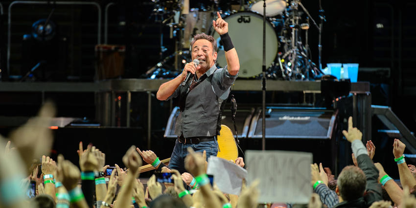 Bruce Springsteen sings on stage to the sold out crowd at the Bryce Jordan Center in 2012.