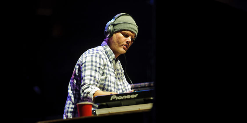 Avicii performs the first ever electronic dance show at the Bryce Jordan Center in 2011.