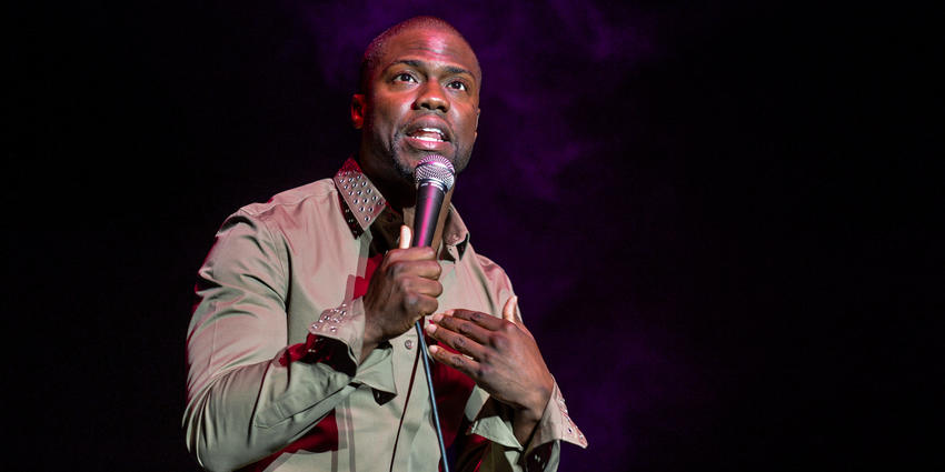 Comedian, Kevin Hart, performs his stand up act on stage at the Bryce Jordan Center in 2012.