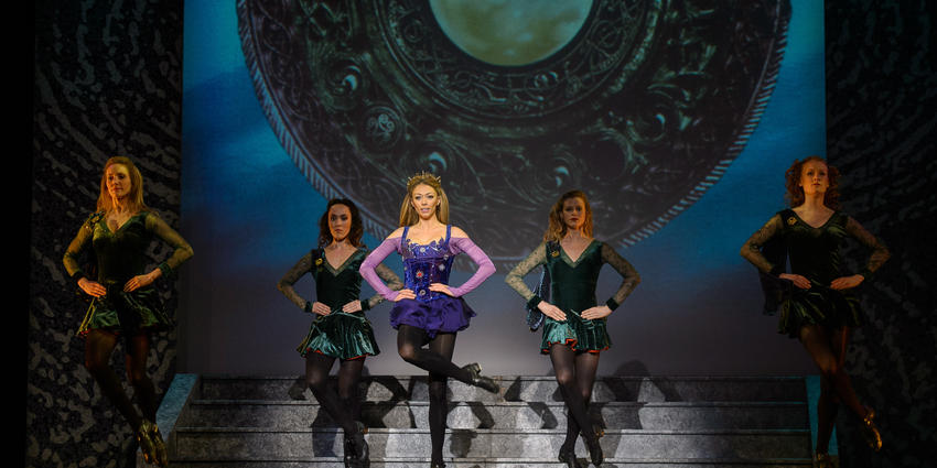 Irish dancers from the group, Riverdance, perform on stage at the Bryce Jordan Center in 2012.