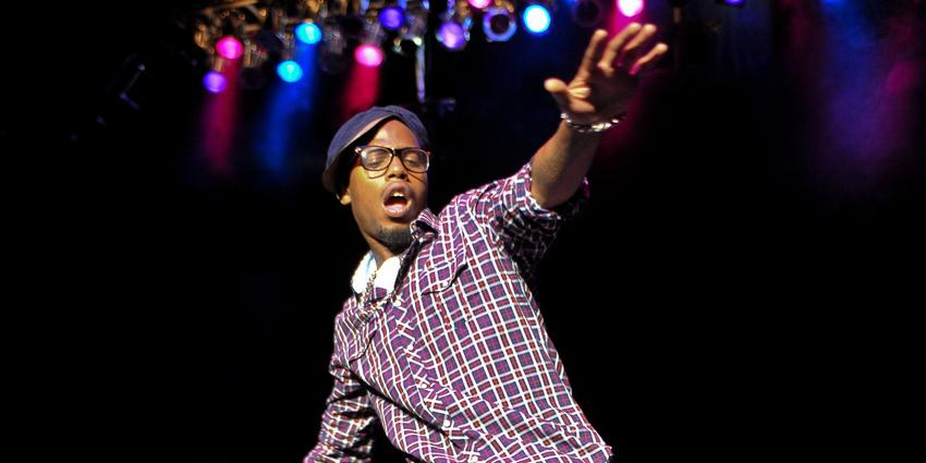 Grammy-nominated rap and hip-hop artist B.o.B, Bobby Ray Simmons, Jr. performs on stage at the Bryce Jordan Center.