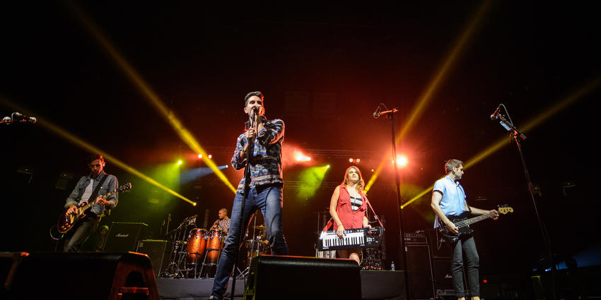 Cobra Starship all together on stage perform for the BJC audience in 2012.