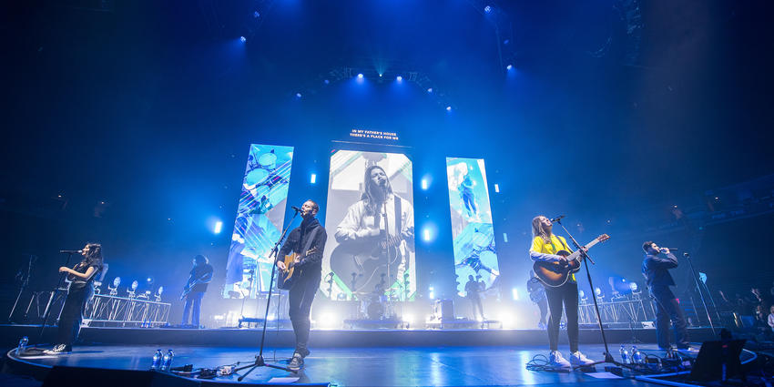 Worship band on stage at BJC during Winter Jam Spectacular Tour 2019
