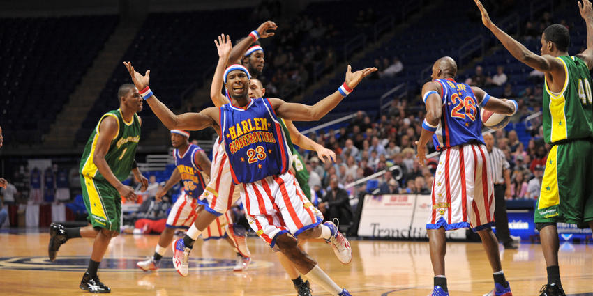Harlem Globetrotters play basketball at the Bryce Jordan Center in 2010.