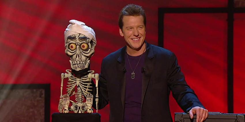 Ventriloquist, Jeff Dunham performs his comedy sketch with his sidekick puppet, Achmed, at the BJC in 2012.