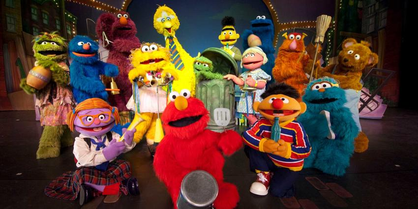 Entire cast of Sesame Street Live characters gathered on stage at the BJC in 2014.