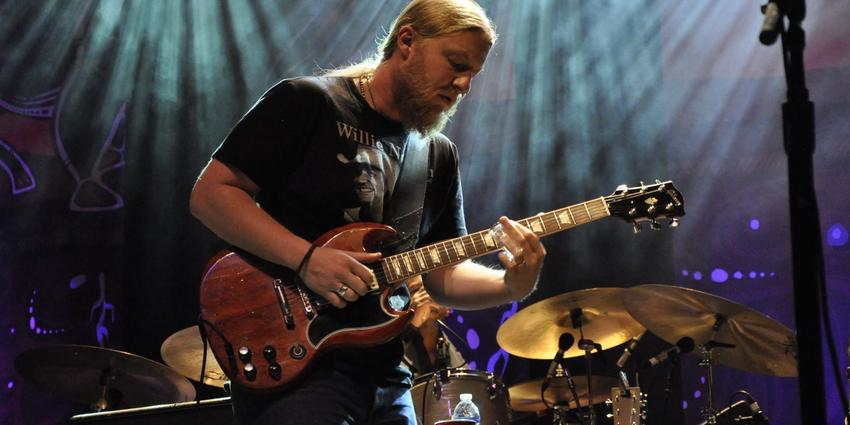 Derek Trucks, of Tedeschi Trucks Band, performs guitar solo during their concert at the Bryce Jordan Center in 2014.