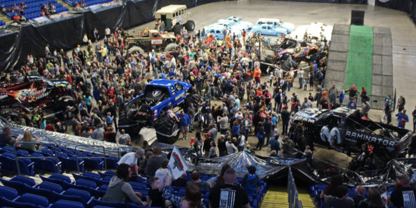 Pre-Show party, fans meeting the drivers and trucks on the arena floor