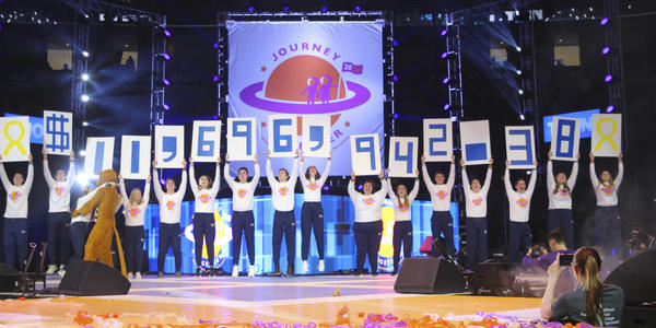 THON 2020 reveal of money raised for pediatric cancer